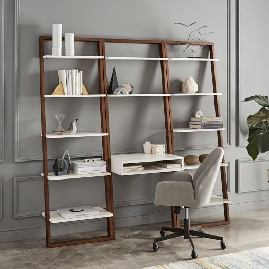 Ladder Shelf Desk + Wide Bookshelf Set $777