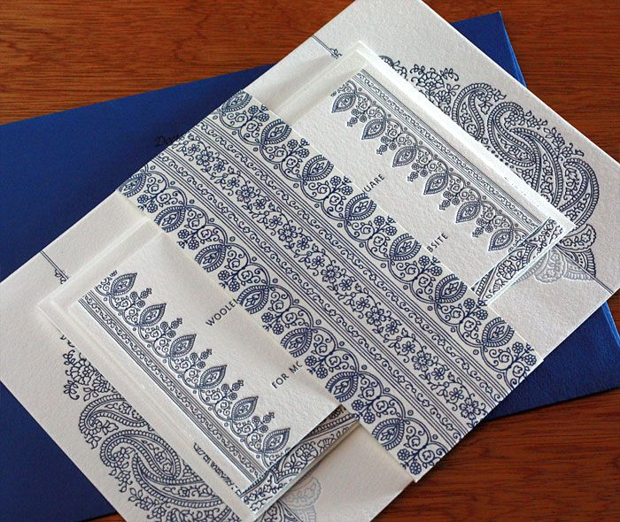 Formal Indian wedding ceremony invitation set with mehndi inspired paisley design and customized belly band.  | Invitations by Ajalon | invitationsbyajalon.com