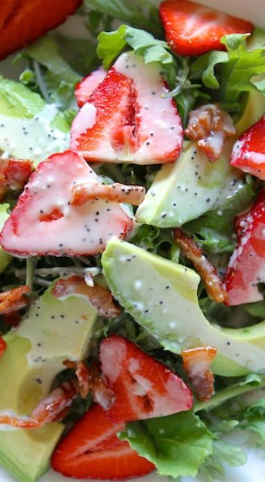 Strawberry Avocado Kale Salad with Bacon Poppyseed Dressing. By LaurensLatest.com