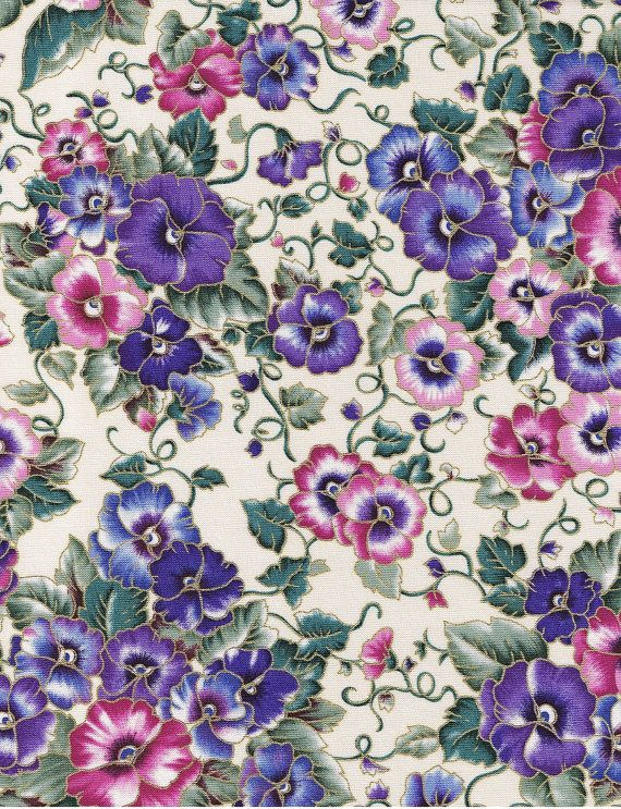 Pansy  Cream 8  Pansies Cotton Quilting Fabric by HandDyedFabrics, $11.50