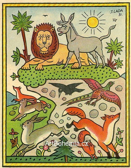 JosefLada - O oslu a lvu (Ezopské bajky)