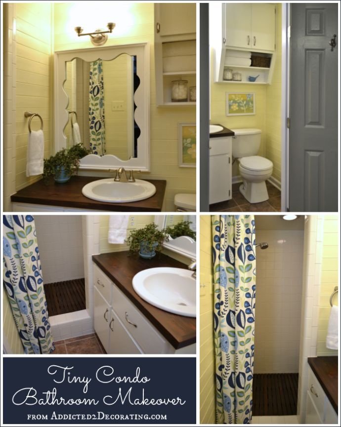 Tiny condo bathroom makeover before and after lake for Before and after small bathroom makeovers