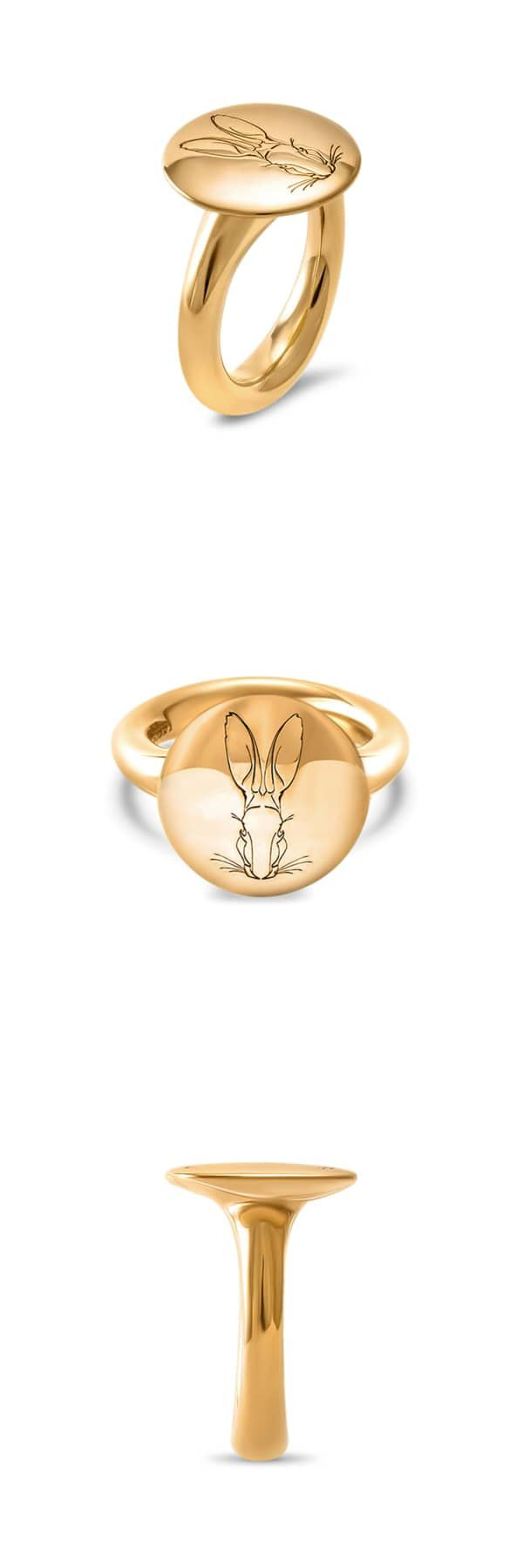 Bracteate Gold Signet Ring  | Hargreaves Stockholm | Wolf & Badger / Women / Jewellery / Rings