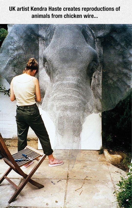 Beautiful Chicken Wire Art by UK artist Kendra Haste
