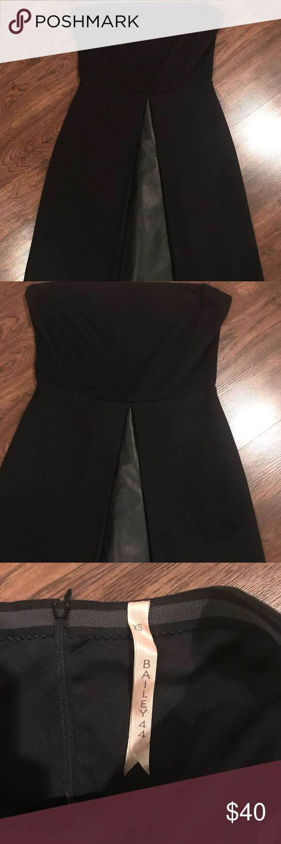 Bailey 44 cocktail strapless dress XS Never worn! Time to clean out closet!  From Saks  Faux leather details  Can dress up or down  XS Bailey 44 Dresses Strapless