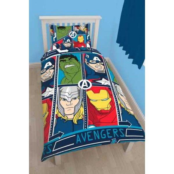 Marvel Avengers sengetøj til børn og voksne med Captain America, Hulk, Thor og Ironman