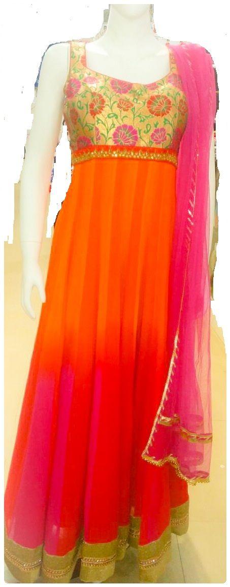 elegant orange and pink shaded anarkali dress...
