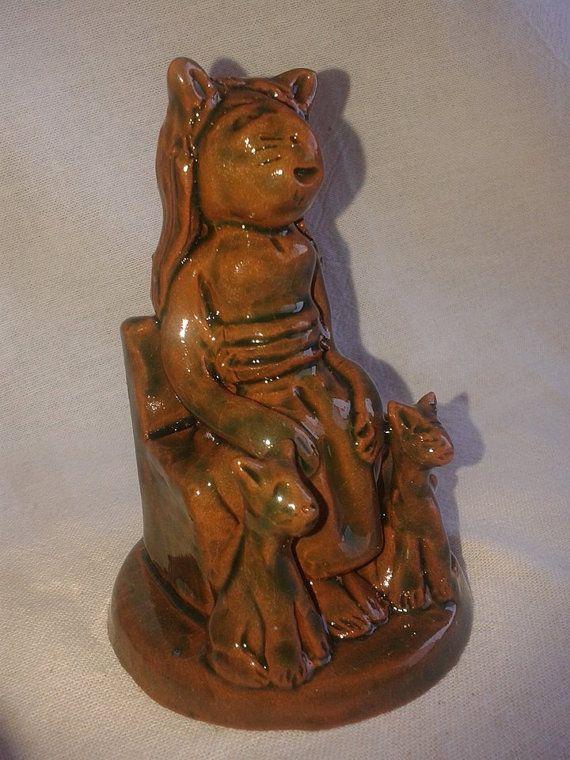 Bastet Statue /  Egyptian Statue / Altar Statue / Egyptian  Goddess of fertility and protector of women / Handmade Ceramic / Green Glaze