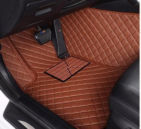 Luxury Diamond Stitched Floor Mats Brown Dodge Full Set Custom Car Floor Mats Custom Car Interior Custom Cars
