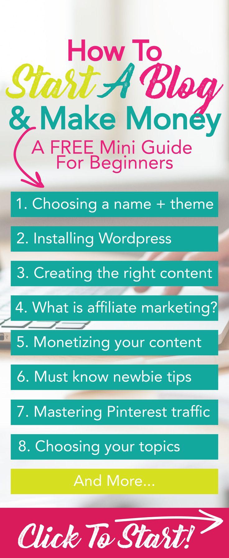 how to start a blog and make money free tutorial | Wordpress for beginners | Mommy Blog | lifestyle blog | Start a blogging business | Pinterest blog traffic | Make money online |