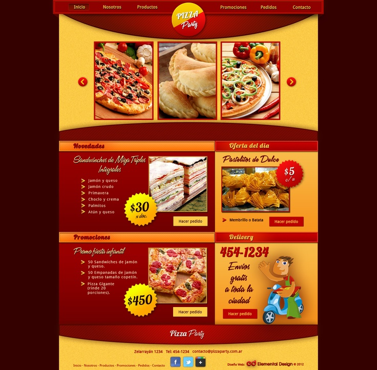 Pizzeria web design, red and yellow template.