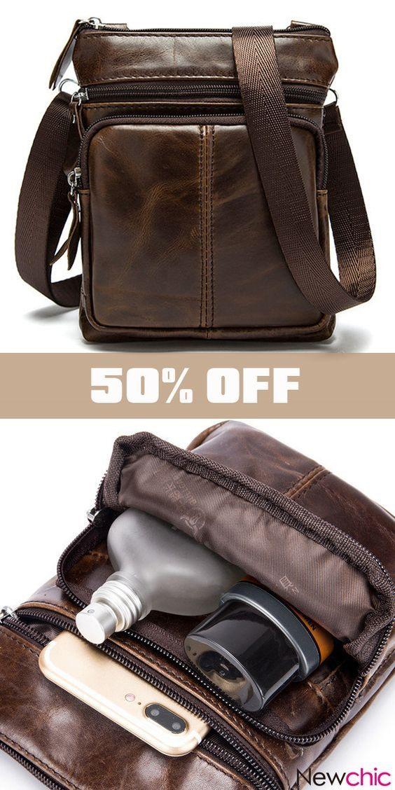 4c984db444 Men Genuine Leather Crossbody Bag Cowhide Leather Business Vintage Shoulder  Bag. business  brown  casual