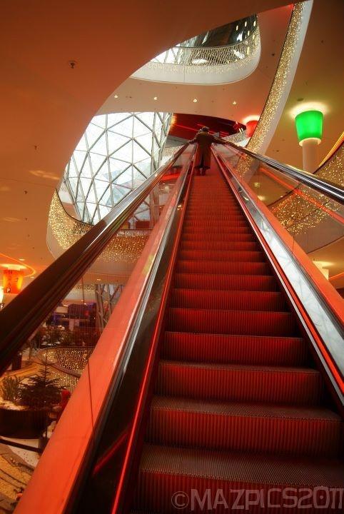 Long escalator at the Zeil Shopping Mall - Frankfurt, Germany  copyright mazpics 2011