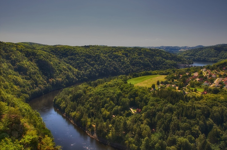 Vltava river just behind the Slapy dam, Czech Republic
