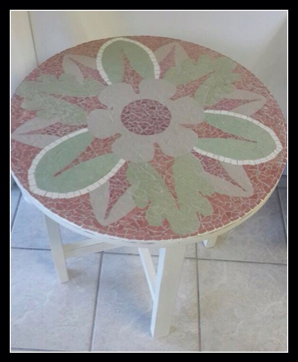 Mosaic Round Bedside Table 60x60cm  (Light-grey, green & pink)