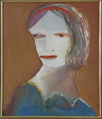 Portrait of Joy Hester c1969 Oil on canvas H 51 x W 44 Signed 'Anne Hall'