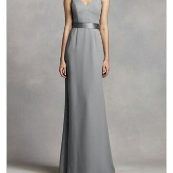 White by Vera Wang long V neck crepe gown White by Vera Wang long V neck crepe gown with open back. Bridesmaid dress. Color is like a gun metal Grey. Store calls the color mercury. Only worn once. Purchased as a size 22 but altered to about an 18. Added lace fabric on back. Fabric can be removed if preferred to wear open back. White by Vera Wang Dresses