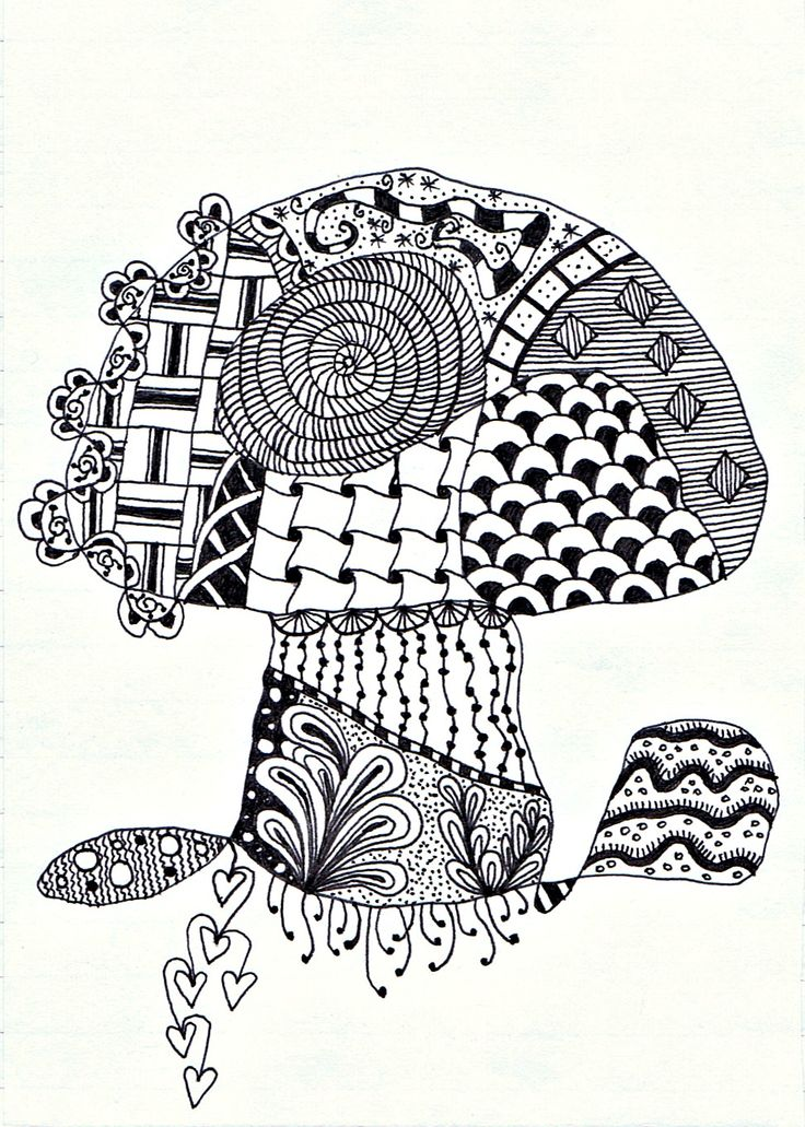 stylised toadstool zentangle (I have a thing for ...