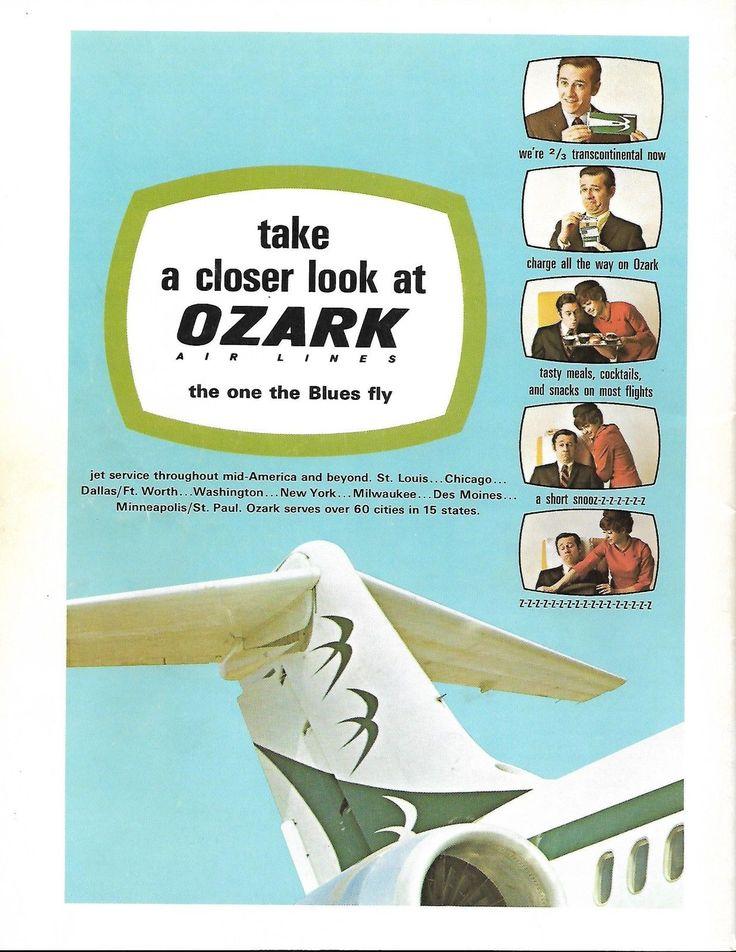 Ozark Air Lines 1970 ad featuring Carlin Ozark