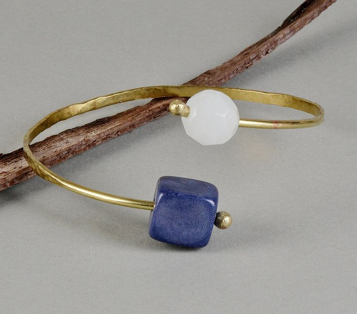 Blue stone bracelet, tagua bracelet wrap around cuff, agate cuff bracelet, gold toned bangle, open thin cuff, Christmas gift under 25 by ColorLatinoJewelry on Etsy