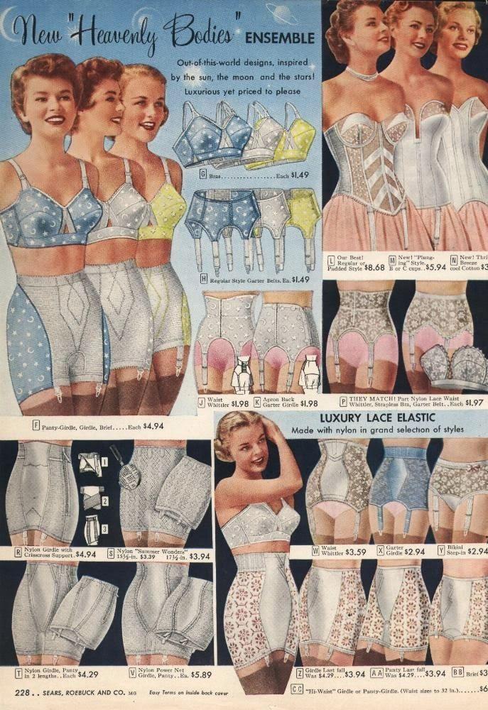 Heavenly Bodies 1950s girdle bullet bra garter belt lingerie color catalog advertisement
