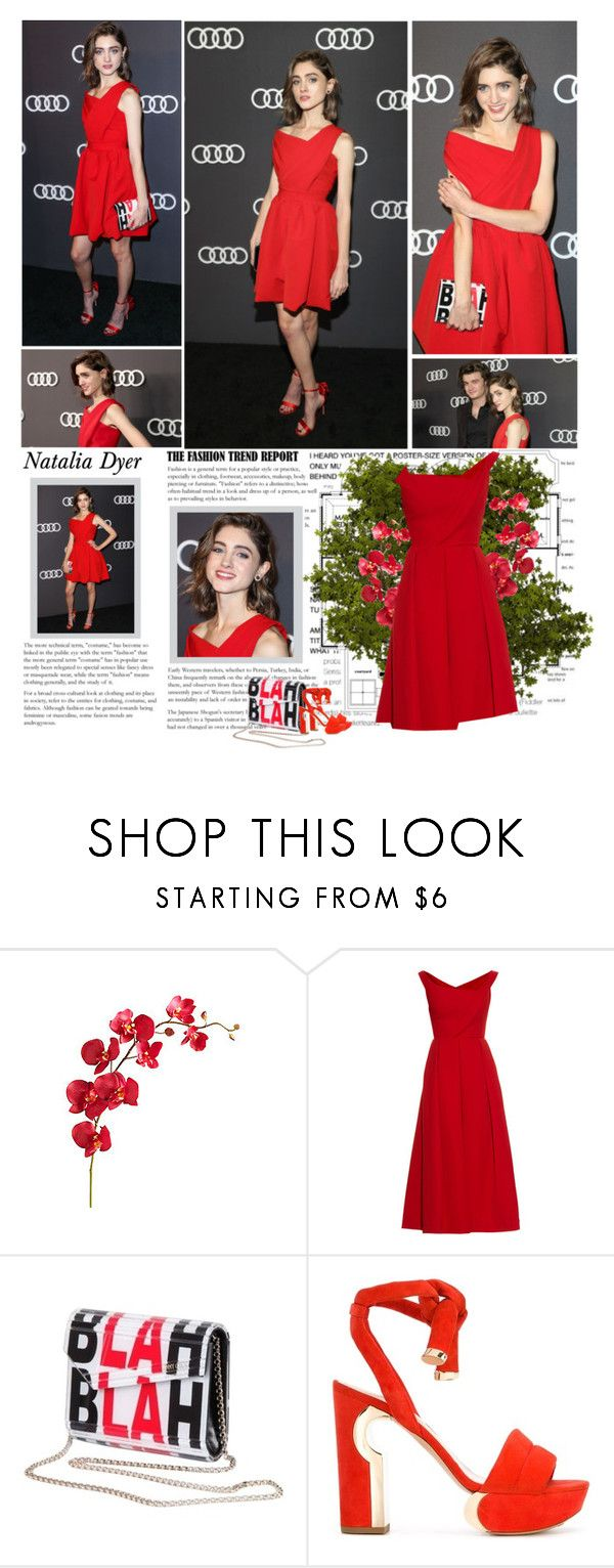 """""""Natalia Dyer."""" by albacampbell ❤ liked on Polyvore featuring Pier 1 Imports, Preen, Jimmy Choo and Nicholas Kirkwood"""