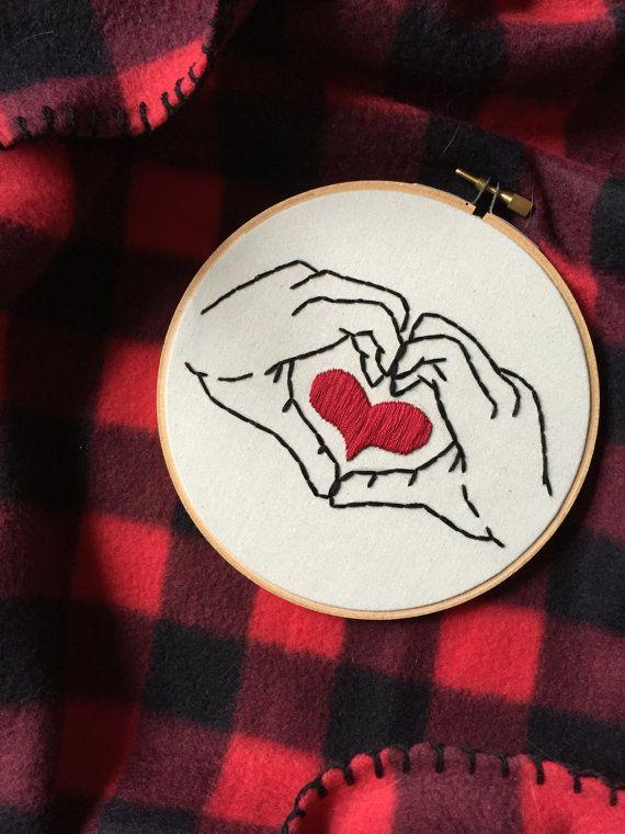 Hoop Art - Heart in Your Hands - Hand Heart - Embroidery Art in 6 Inch Hoop…