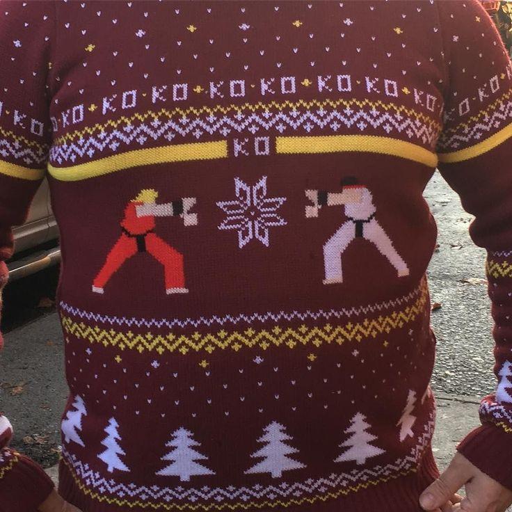 Tonight's #UglyChristmasSweater! #StreetFighter style! #Hadouken #Ryu #Ken #Snowflake #MerryChristmas #ChristmasEve #Christmas2016