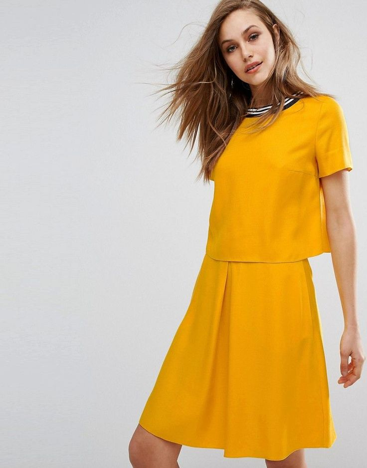 BOSS ORANGE BOSS ORANGE BY HUGO BOSS ABERRY DRESS - YELLOW. #bossorange #cloth #