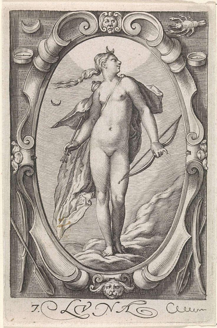 Jacob Matham | Maan (Diana), Jacob Matham, Hendrick Goltzius, 1597 | Diana, of de gepersonifieerde maan, met pijl en boog en op haar hoofd de maansikkel. Links van haar haar astronomische symbool. Staand in een ovaal cartouche met bovenaan de twee tekenen: Maan en Kreeft.