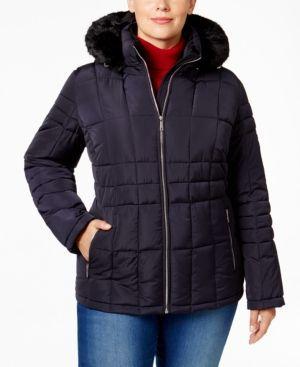 Calvin Klein Plus Size Faux-Fur-Trim Puffer Coat - Blue 2X