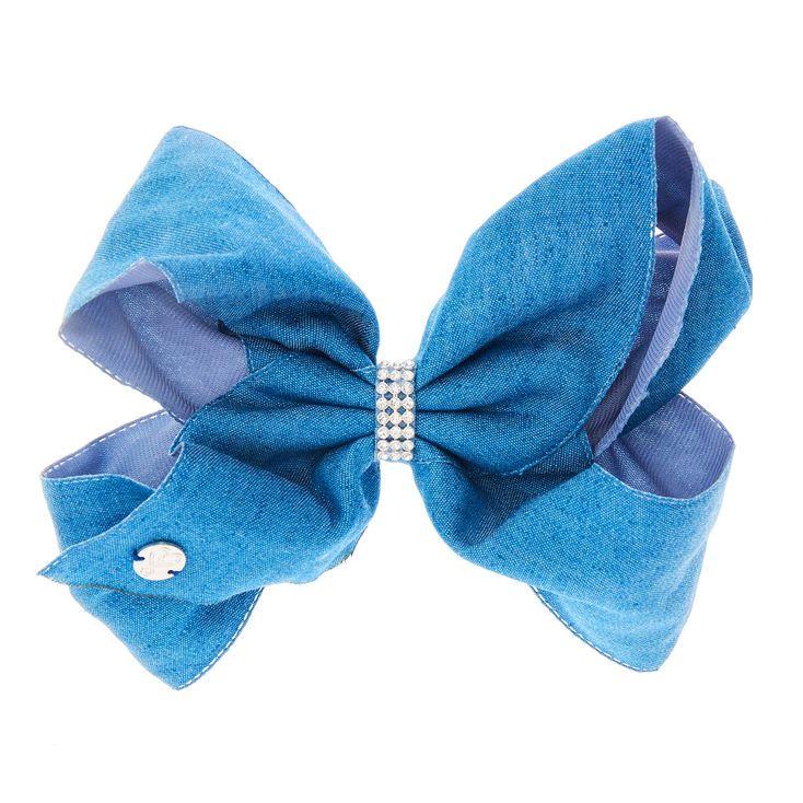 JoJo Siwa Small Rhinestone Keeper Denim Blue Hair Bow