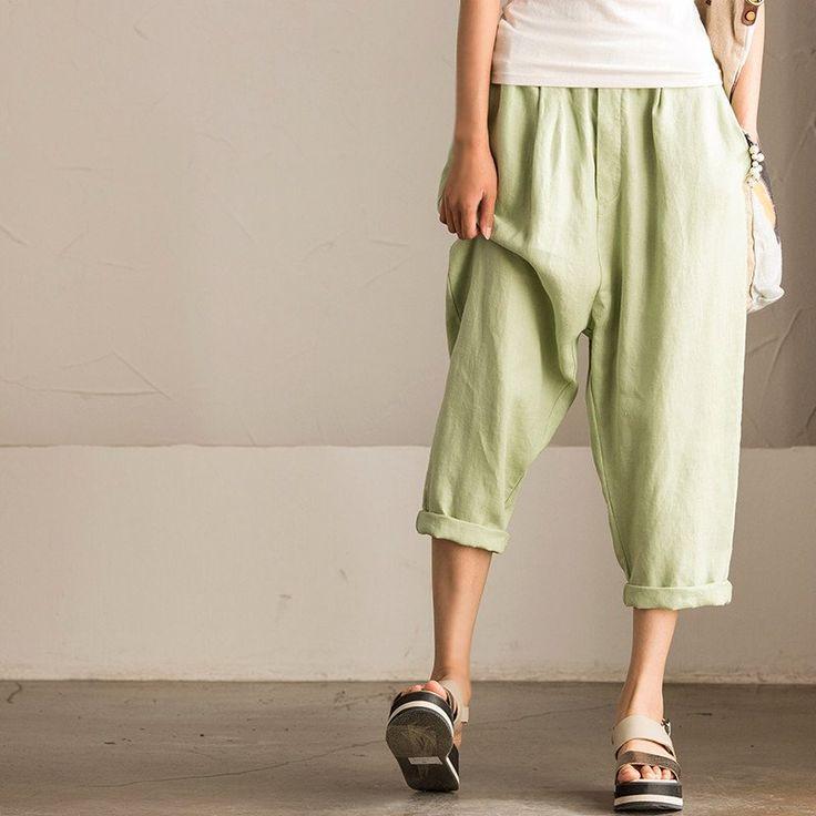 Causel Linen Pants Fashion Seven minutes of Pants Trousers Women Clothes