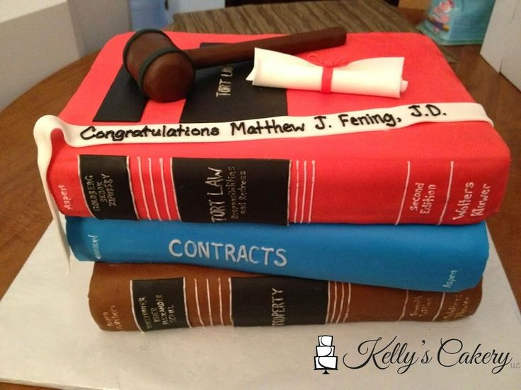 Lawyer gradation books cake - www.KellysCakery.com