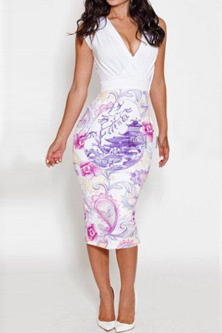 Alluring Plunging Neck Sleeveless Spliced Printed Bodycon Women's Dress Club Dresses | RoseGal.com Mobile