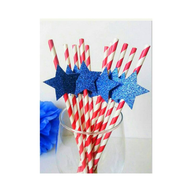 Fourth of July. Patriotic. Red White and Blue. Paper Straws. Star Straws. 4th of July Straws. Independence Day. Patriotic Birthday by ConfettiBashStudio on Etsy https://www.etsy.com/listing/289163971/fourth-of-july-patriotic-red-white-and