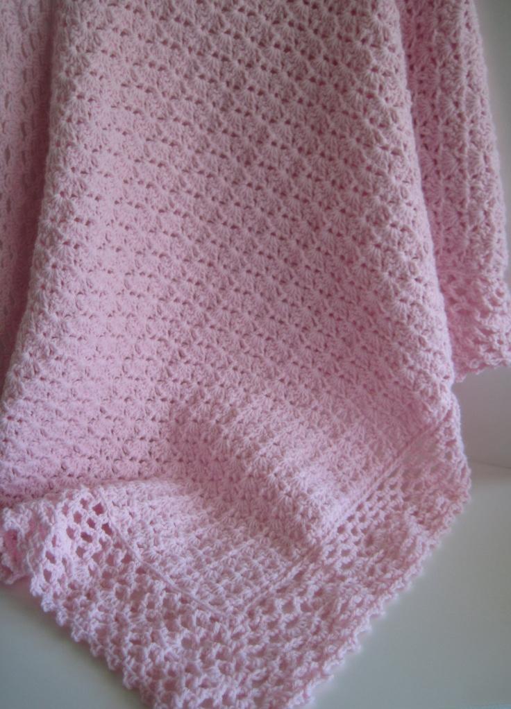 crochet edging for baby blankets Pink Crochet Baby Blanket Afghan ...