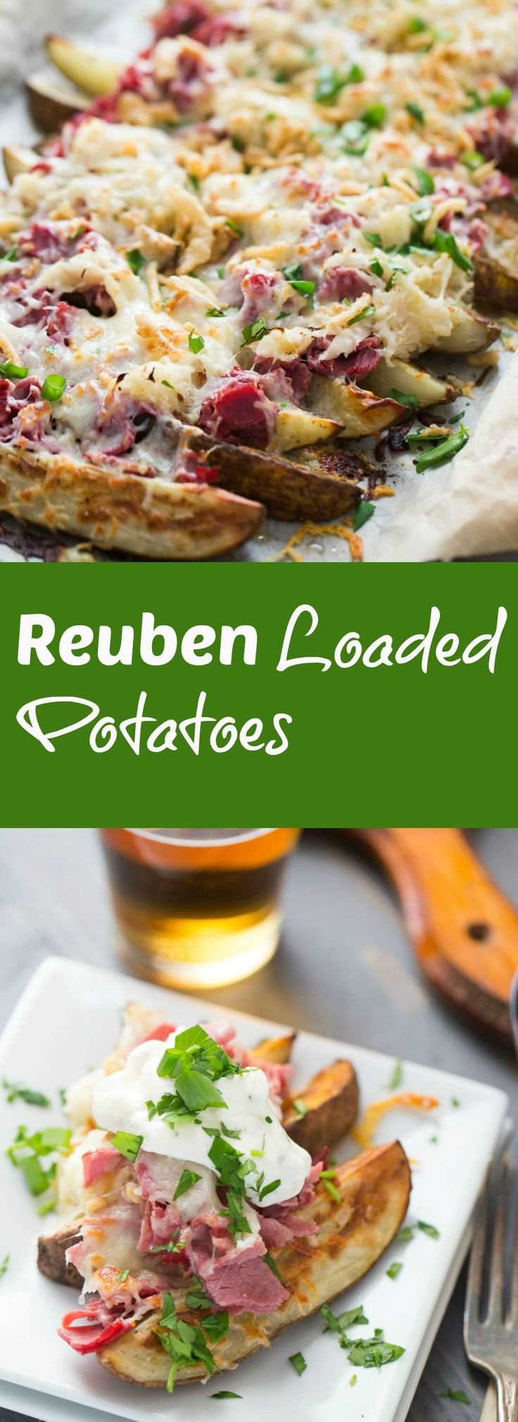This loaded potatoes recipe is so good! Classic Reuben ingredients are a piled high on top of crispy potato wedges! All that you need is a cold pint of beer on the side! lemonsforlulu.com via @Lemonsforlulu