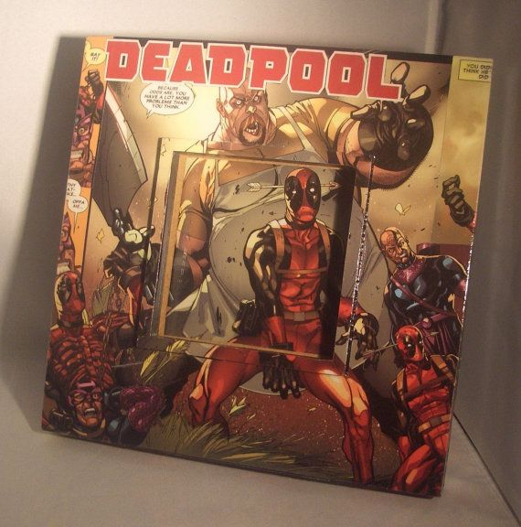 ☼∞ #Deadpool Upcyled #Comic Book #Picture Frame by CurbedEarth #handcrafted http://etsy.me/2jdyroe