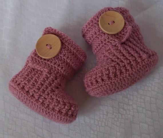 Crochet baby booties.