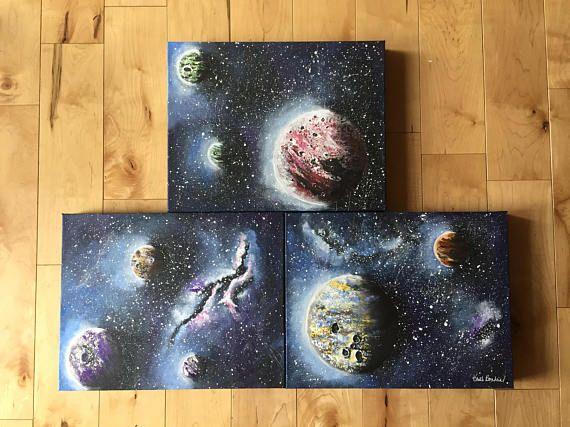 Original Acrylic Painting  Far Away Galaxy