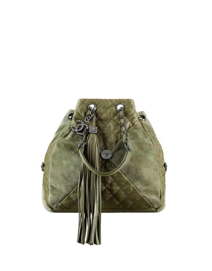 Drawstring bag, goatskin, suede calfskin & ruthenium metal-khaki - CHANEL