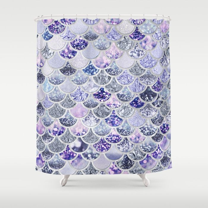 Purple And Violett Trendy Glitter Mermaid Scales Shower Curtain
