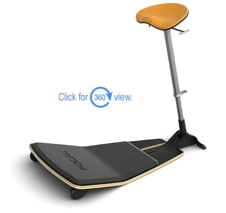 Standing desk chair, yes please!  I tried it at a convention and my body thanked me.