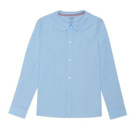 1174c42e73384c French Toast Girls Long Sleeve Modern Peter Pan Collar Blouse, Size: 8, Blue