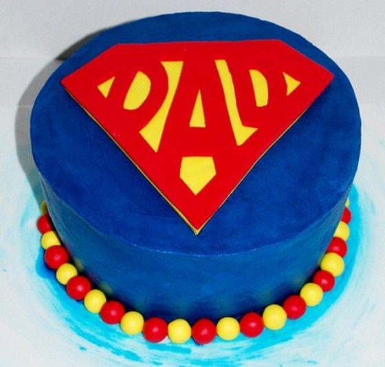 Superdad Cake  **Red & Yellow M's?