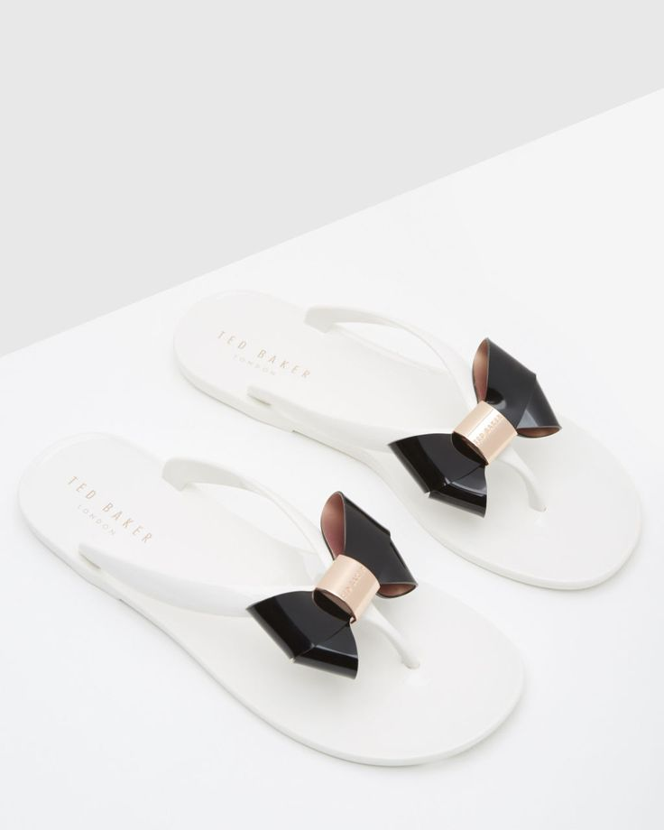 Bow flip flops - Cream | Footwear | Ted Baker UK