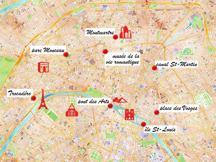 Carte des endroits romantiques à Paris.