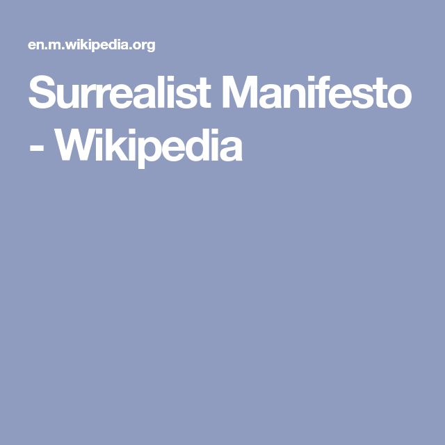 Surrealist Manifesto - Wikipedia