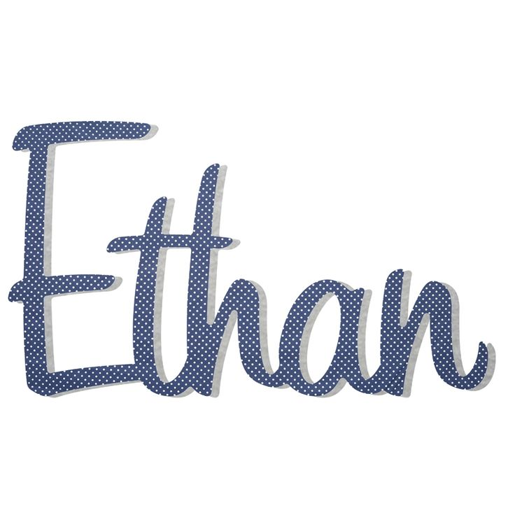 Navy with white spot - fabric covered personalised wooden name or word - hardtofind.